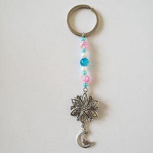 Beaded flower moon Keychain